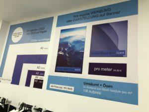 Preistabelle Digitaldruck auf Banner